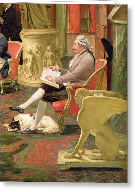 Library Greeting Cards - Charles Townley And His Friends Greeting Card by Johann Zoffany