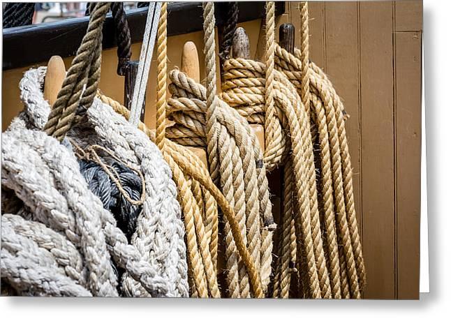 Wooden Ship Greeting Cards - Charles W. Morgan Ropes 3 Greeting Card by Black Brook Photography