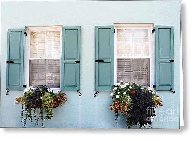 Rainbow Row Greeting Cards - Charleston Aqua Teal French Quarter Rainbow Row Flower Window Boxes Greeting Card by Kathy Fornal