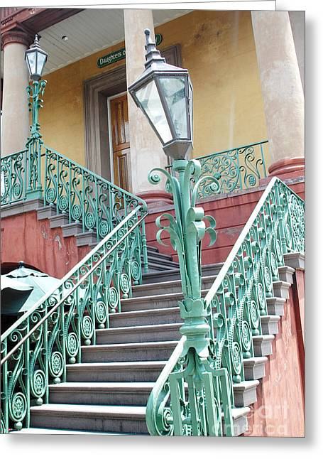 Staircase Greeting Cards - Charleston Aqua Teal French Quarter Staircase - Charleston Architecture  Greeting Card by Kathy Fornal
