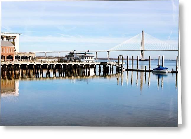 Ravenal Bridge Greeting Cards - Charleston Bridge View Greeting Card by Jenny Hudson