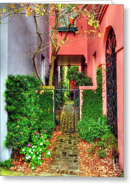 Rainbow Row Greeting Cards - Charleston Charm 2 Greeting Card by Mel Steinhauer