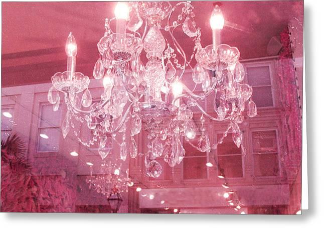 Pink Photos Greeting Cards - Charleston Crystal Chandelier - Sparkling Pink Crystal Chandelier Art Deco Greeting Card by Kathy Fornal
