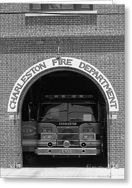Fireman Posters Greeting Cards - Charleston Fire Department - Black and White Greeting Card by Suzanne Gaff