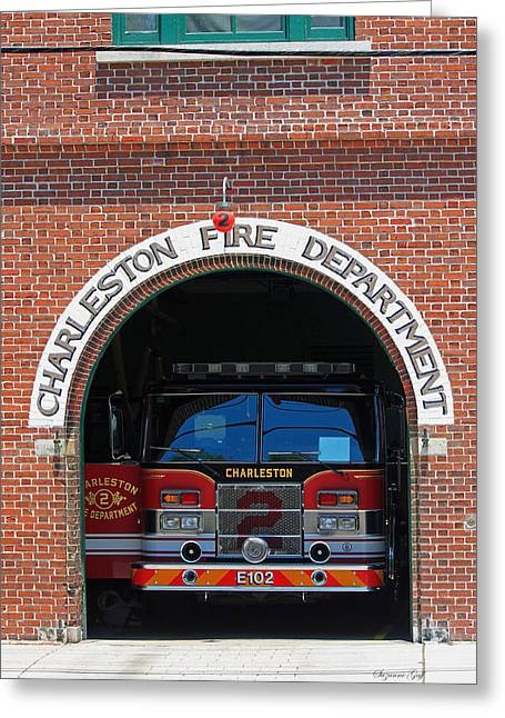 Fireman Posters Greeting Cards - Charleston Fire Department No. 2 Greeting Card by Suzanne Gaff