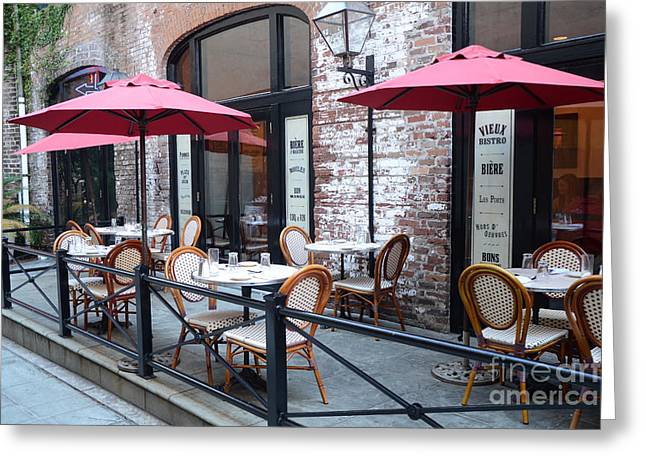 Charleston Sidewalk Greeting Cards - Charleston French Cafe Bistro - Rue De Jean French Restaurant Cafe Bistro Charleston South Carolina Greeting Card by Kathy Fornal