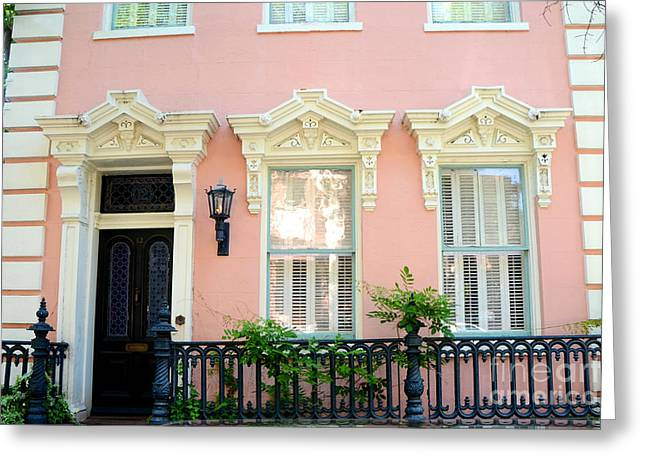 French Quarter Photographs Greeting Cards - Charleston French Quarter District Mansion - Pink and Black French Architecture Greeting Card by Kathy Fornal