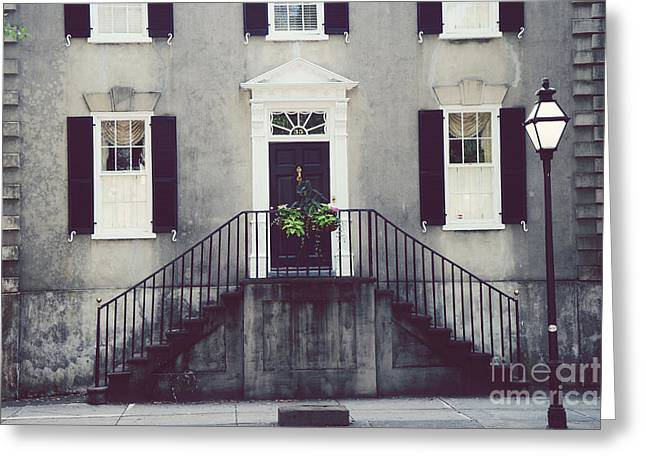 Charleston Houses Greeting Cards - Charleston French Quarter Historial District Mansion - Charleston Black Grey White House and Lantern Greeting Card by Kathy Fornal