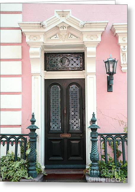 Facades Greeting Cards - Charleston French Quarter Pink House - Charleston French Architecture Pink Black And White Door Greeting Card by Kathy Fornal