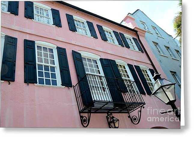 Rainbow Row Greeting Cards - Charleston French Quarter Rainbow Row French Lace Iron Balconies Black and Pink Window Shutters  Greeting Card by Kathy Fornal
