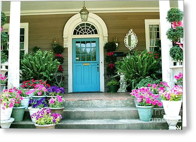 Charleston Garden- Blue Door Garden And Floral Art Greeting Card by Kathy Fornal