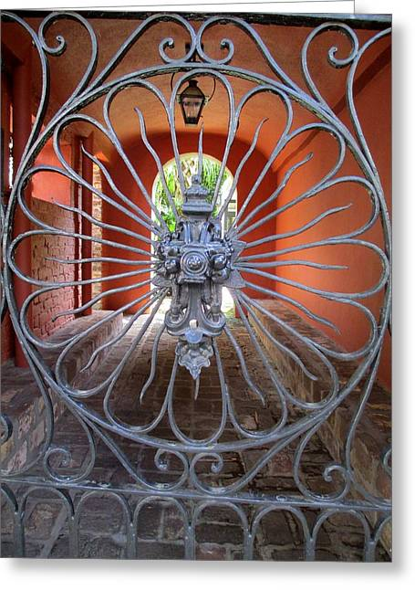 Wrought Iron Gate Greeting Cards - Charleston Gate 1 Greeting Card by Randall Weidner