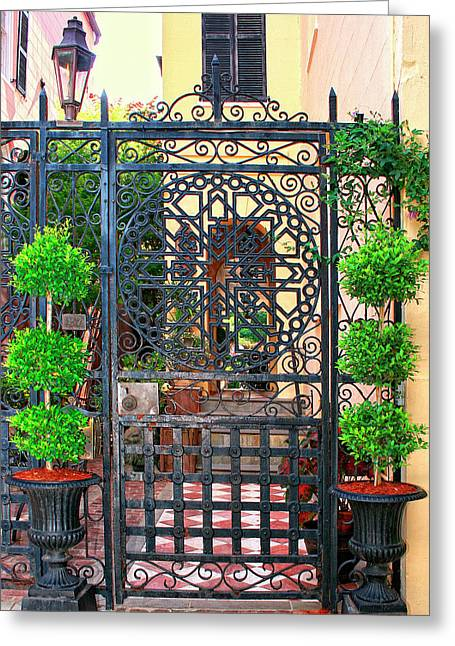 Charleston Gate Charleston Sc Greeting Card by William Dey