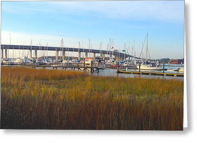 Sailboat Images Greeting Cards - Charleston Harbor and Marsh Greeting Card by M West