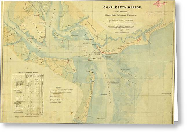 Charleston Drawings Greeting Cards - Charleston Harbor and Rebel Defences - 1865 Greeting Card by Historic Maps