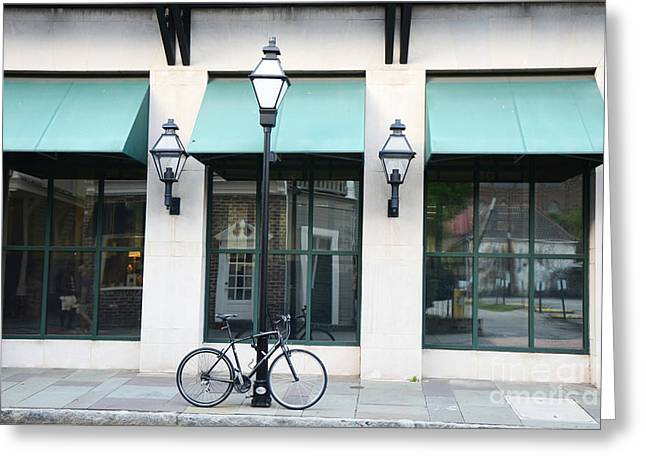 French Bicycle Shop Greeting Cards - Charleston Historical District Architecture Buildings and Bicycle Street Scene Greeting Card by Kathy Fornal