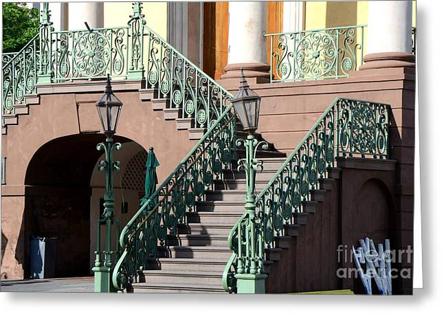 Staircase Greeting Cards - Charleston Historical District Staircase and Lanterns - Aqua Teal Staircase Architecture  Greeting Card by Kathy Fornal