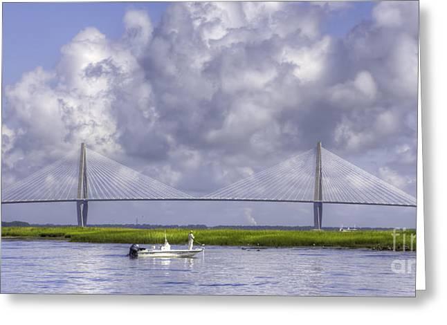 Charleston Sc Greeting Cards - Charleston Inshore Fishing Cooper River Bridge Greeting Card by Dustin K Ryan