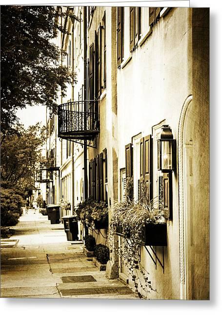 Charleston Sidewalk Greeting Cards - Charleston Greeting Card by Karol  Livote