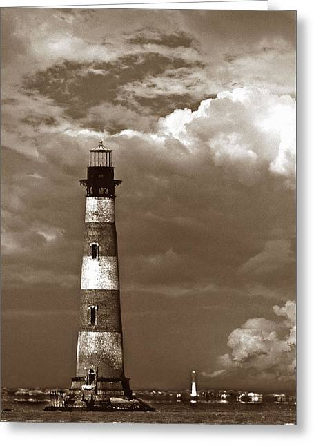 Lighthouse Artwork Greeting Cards - Charleston Lighthouses Greeting Card by Skip Willits