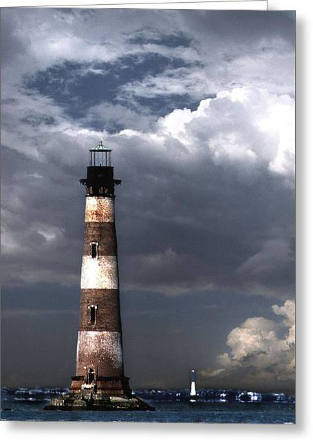 Photos Of Lighthouses Greeting Cards - Charleston Lights Greeting Card by Skip Willits