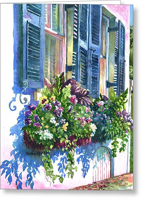 Flower Boxes Paintings Greeting Cards - Charleston Nosegay Greeting Card by Alice Grimsley