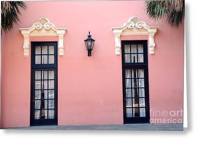 Charleston Houses Greeting Cards - Charleston Coral White Black Architecture - Charleston Historical District - The Mills House Greeting Card by Kathy Fornal