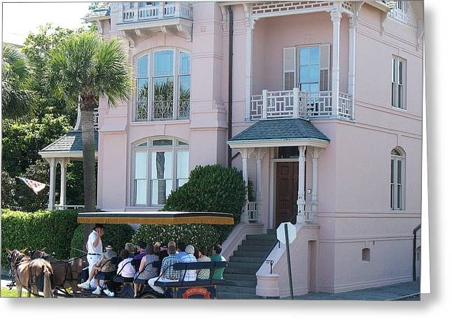 Charleston Houses Greeting Cards - Charleston Pink House Architecture With Horse and Carriage - Charleston Victorian Pink Homes  Greeting Card by Kathy Fornal