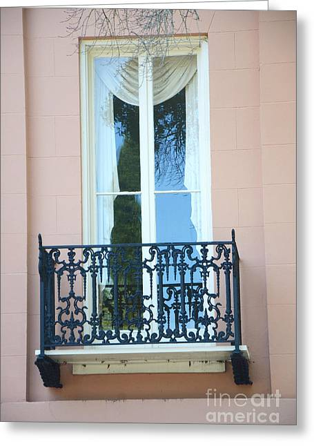 French Quarter Photographs Greeting Cards - Charleston Pink White Architecture - Charleston Historical District French Quarter Window Balcony Greeting Card by Kathy Fornal