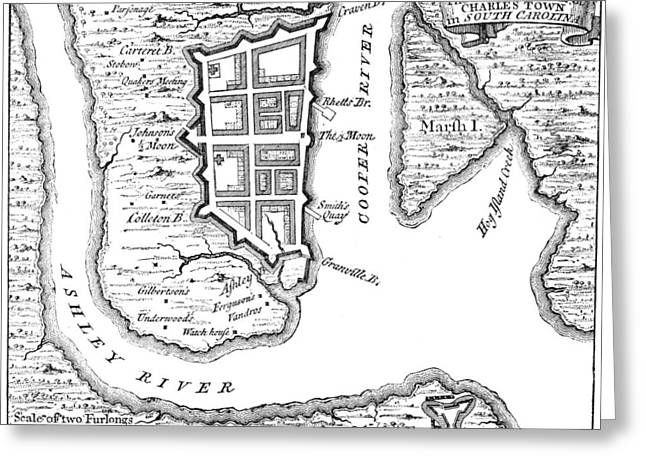 1732 Greeting Cards - Charleston: Plan, 1732 Greeting Card by Granger