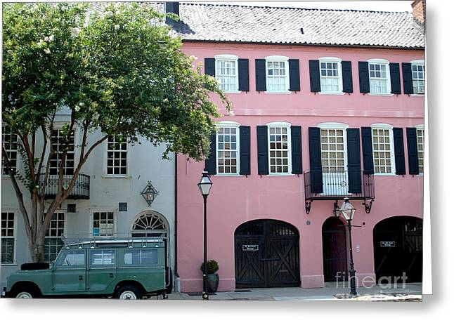 Rainbow Row Greeting Cards - Charleston Rainbow Row Historical District Pink Black Architecture Street Scene  Greeting Card by Kathy Fornal