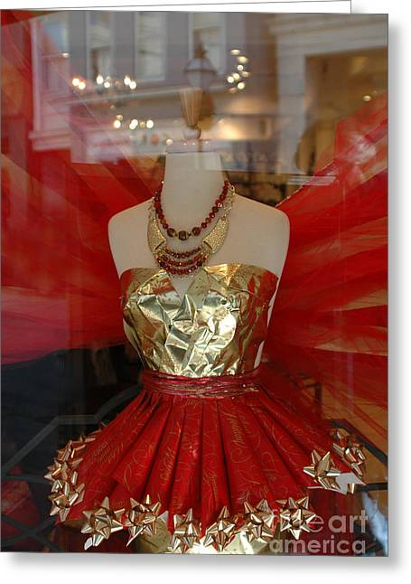 Charleston Red And Gold Holiday Dress Shop Greeting Card by Kathy Fornal