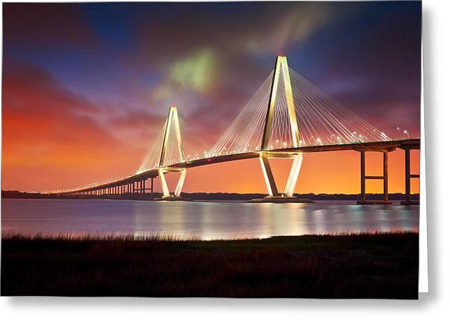 River. Clouds Greeting Cards - Charleston SC - Arthur Ravenel Jr. Bridge Cooper River Greeting Card by Dave Allen