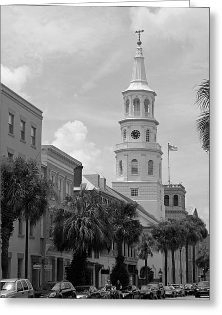 Palmetto Trees Greeting Cards - Charleston Series in Black and White Greeting Card by Suzanne Gaff