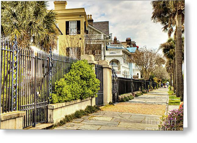 Charleston Sidewalk Greeting Cards - Charleston Sidewalk Greeting Card by Emily Enz