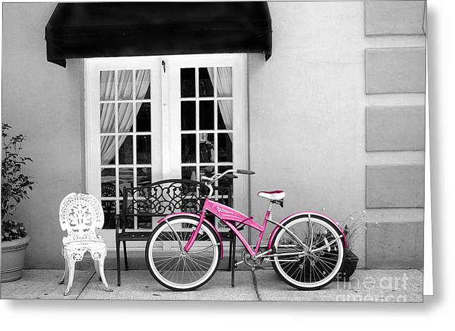 French Quarter Photographs Greeting Cards - Charleston South Carolina Black White Pink Bicycle Greeting Card by Kathy Fornal