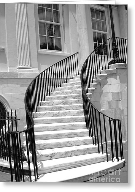 Charleston Houses Greeting Cards - Charleston South Carolina Black White Staircase Architecture Greeting Card by Kathy Fornal