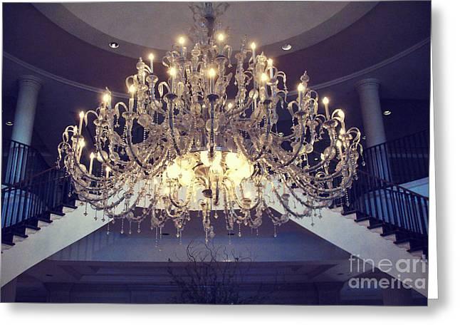 Opulent Greeting Cards - Charleston South Carolina Crystal Chandelier - Sparkling Opulent Elegant Crystal Chandelier  Greeting Card by Kathy Fornal