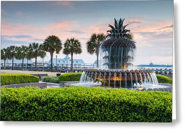 Charleston Greeting Cards - Charleston South Carolina Downtown Waterfront Park Pineapple Fountain Greeting Card by Mark VanDyke