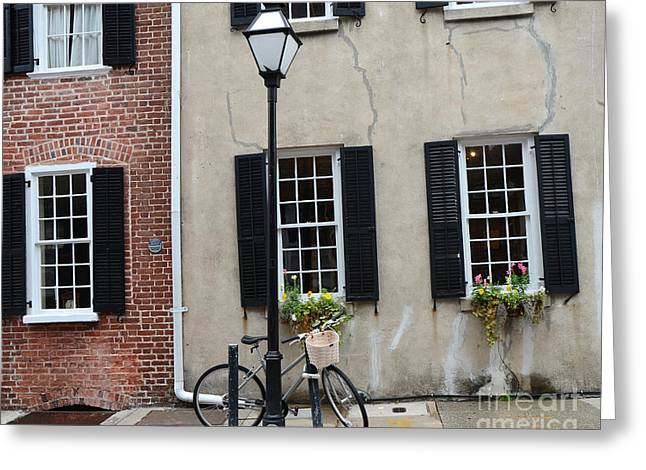 Historic Home Greeting Cards - Charleston South Carolina Historic District Architecture Street Lamps and Window Boxes  Greeting Card by Kathy Fornal