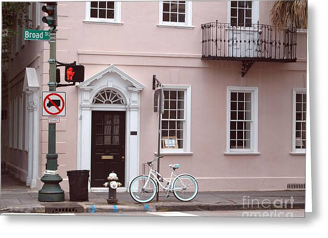 Historic Home Greeting Cards - Charleston South Carolina Pink Architecture Street Scene and Bicycle Greeting Card by Kathy Fornal