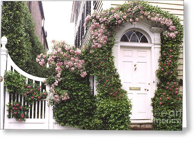 Climbing In Greeting Cards - Charleston South Carolina Roses Arbor and Door Greeting Card by Kathy Fornal