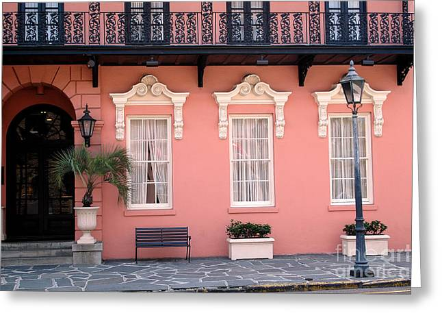 French Quarter Photographs Greeting Cards - Charleston South Carolina - The Mills House - Art Deco Architecture Greeting Card by Kathy Fornal