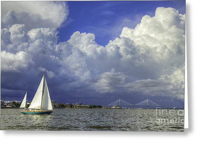 Thunder Cloud Greeting Cards - Charleston South Carolina Thunderstorms  8/2013 Greeting Card by Dustin K Ryan