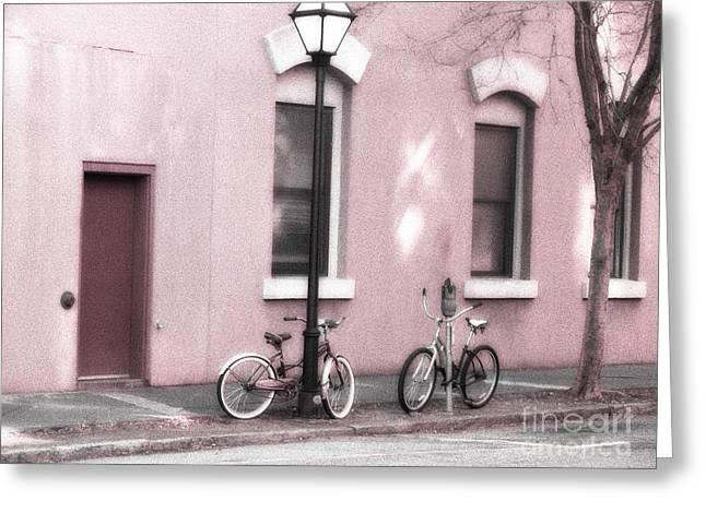 Doors And Windows Greeting Cards - Charleston South Carolina Vintage Pink Bicycles Greeting Card by Kathy Fornal