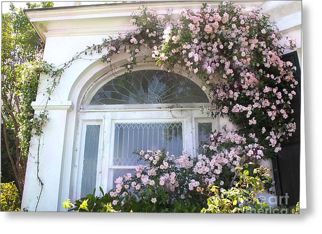 Window Box Greeting Cards - Charleston South Carolina Window Climbing Roses Greeting Card by Kathy Fornal