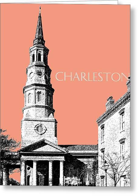 South Carolina Art Greeting Cards - Charleston St. Phillips Church - Salmon        Greeting Card by DB Artist