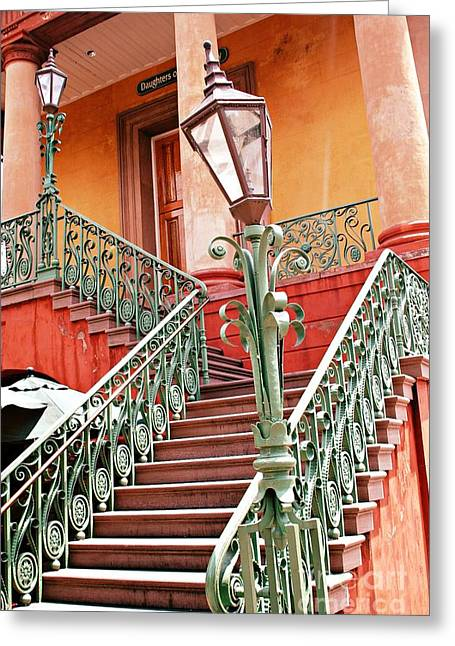 Street Lantern Greeting Cards - Charleston Staircase Street Lamps Architecture Greeting Card by Kathy Fornal