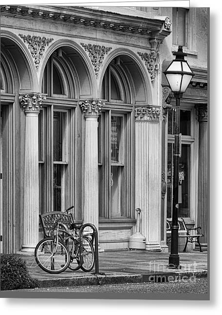 Store Fronts Greeting Cards - Charleston Store Front bw Greeting Card by Jerry Fornarotto