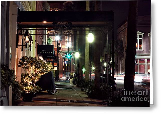Empty Street Greeting Cards - Charleston Streets at Night Greeting Card by John Rizzuto